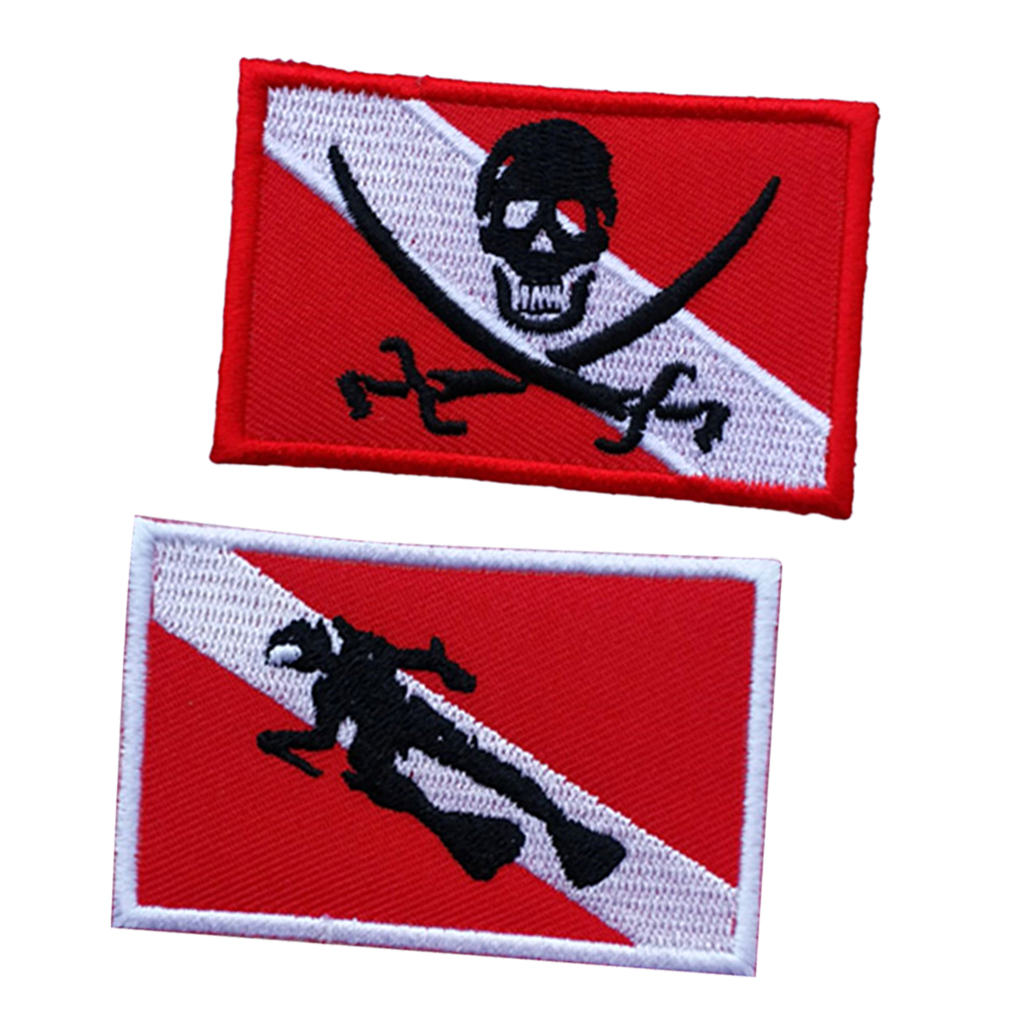 2Pcs Durable Dive Flag Patch Embroidered Iron On Scuba Diver Souvenir Gift