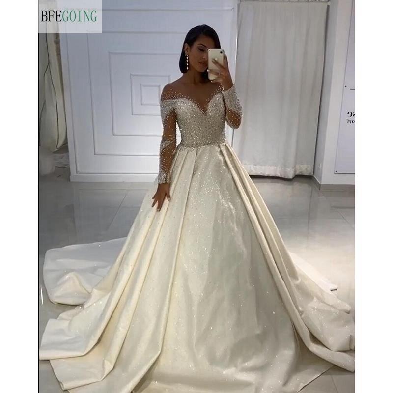 Ivory Satin Beading Crystal Long Sleeves Scoop  Floor-Length A-line Wedding Dress Chapel Train Custom Made