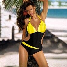 One-Piece Swimsuit Monokini Push-Up Womens Plus-Size Beach-Wear HALTER V-Neck