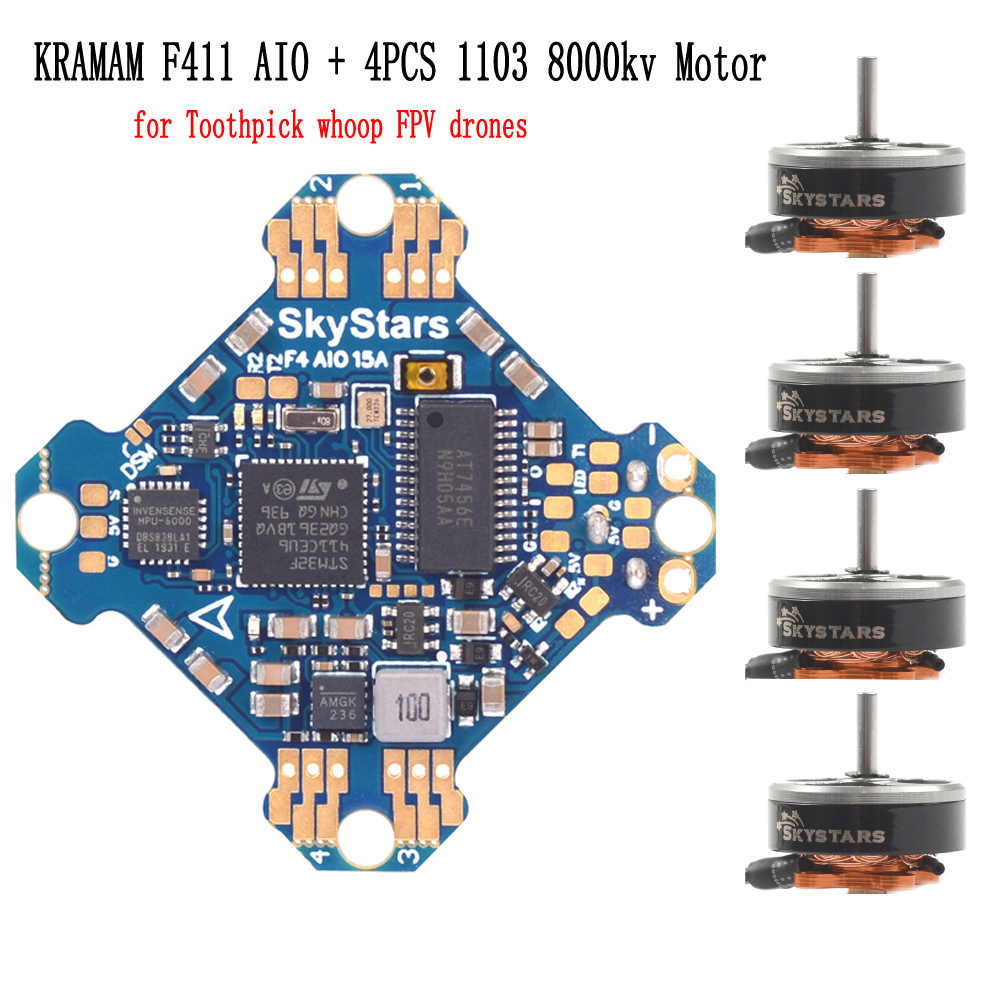 4 Uds Skystars palillo Whoop ST1103 8000KV 1-4 S Motor KRAMAM F4 AIO FC 15A 4IN1 CES Dshot 300, 600 para mini fpv racing drone