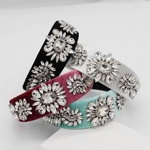 New European and American Baroque fashion gorgeous multicolor rhinestone flower headband travel wild casual headband 889