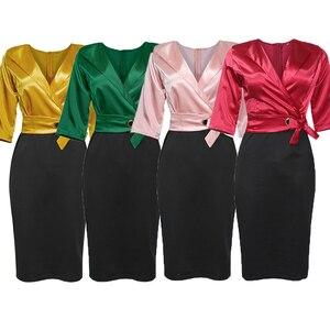 Image 2 - MD 2020 الخريف الشتاء حجم كبير فستان المرأة الأفريقية الوردي الأسود المرقعة فستان أنيق مكتب السيدات فساتين الخامس الرقبة رداء الحفلات