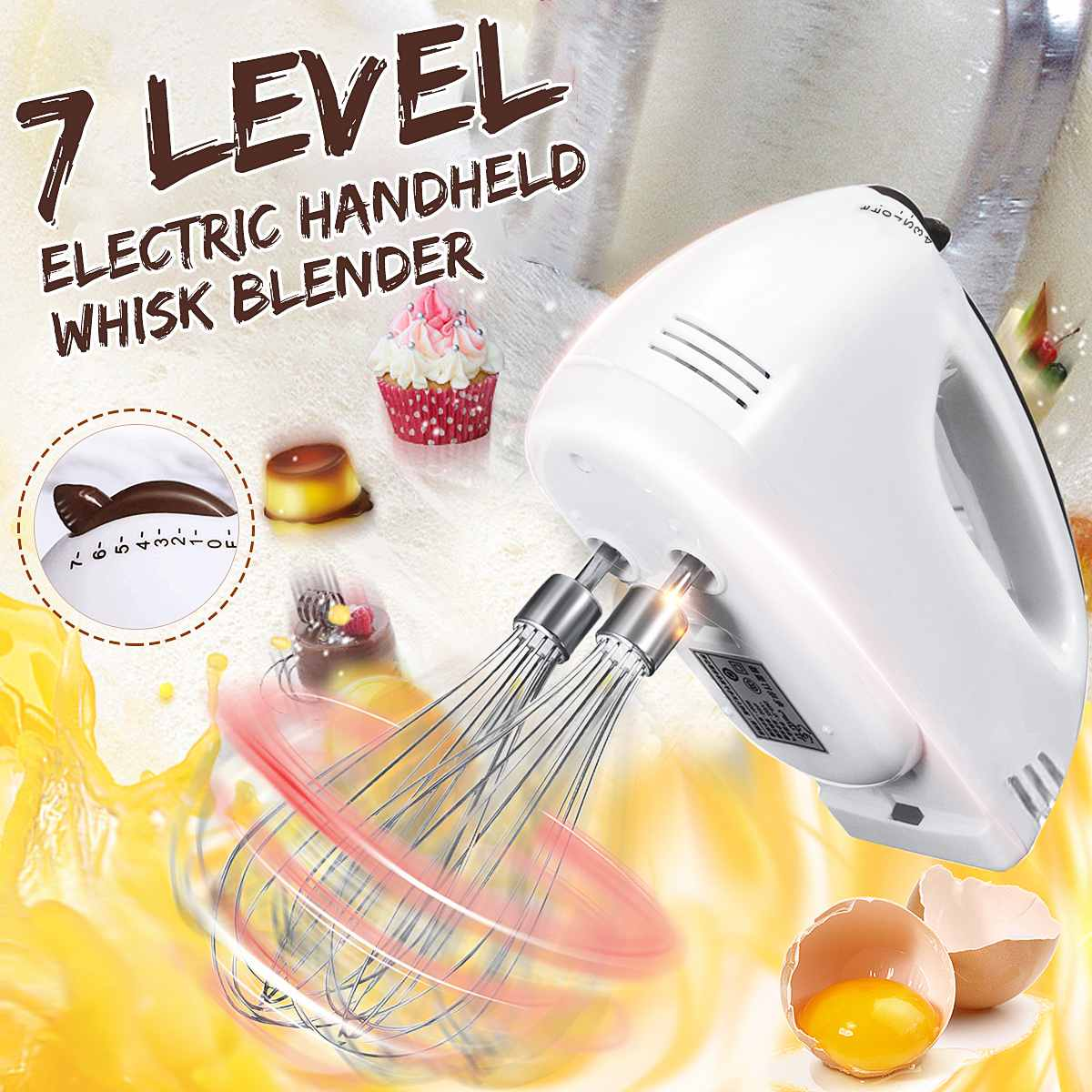 7 Speed Electric Hand Mixer Whisk Egg Beater Blender Cake Baking Cooking Tool