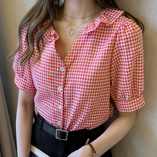 New 2020 Women Summer Blouse Shirts Plaid Single Breasted Ca