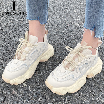 Genuine Leather Sneakers platform shoes women Chunky sneakers comfortable Femme women Breathable Thick Sole Ladies Casual shoe warrior women chunky sneakers vulcanize shoes genuine leather fashion female white platform thick sole running casual shoe women