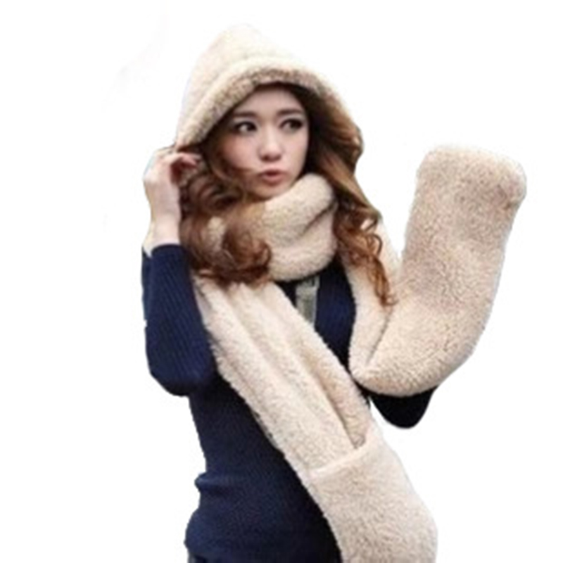 Women Winter Fashion Plush Warm Three-piece Suit As One Female Scarf Gloves Hat Siamese Lovely Thicken Christmas Gift T10