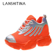 New 2019 Autumn Women Shoes Fashion Breathable Mesh Walking Sneakers Lace-up Platform Casual Shoes Flats Woman Chaussure Femme europe women shoes flats platform shoes woman mesh striped fashion sneakers casual lace up breathable low cut plus size 35 40