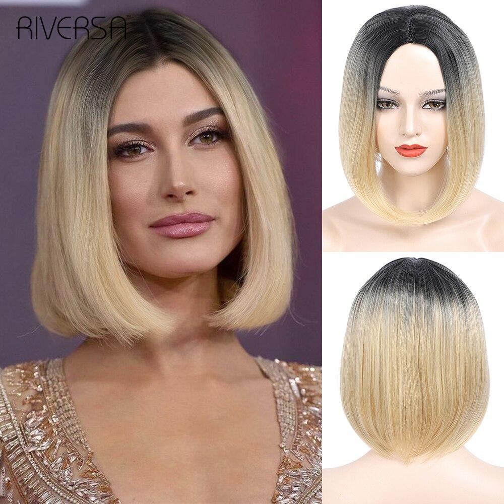 Pelucas de cabello sintético liso para mujeres negras Riversa, pelo corto Natural, fibra resistente al calor