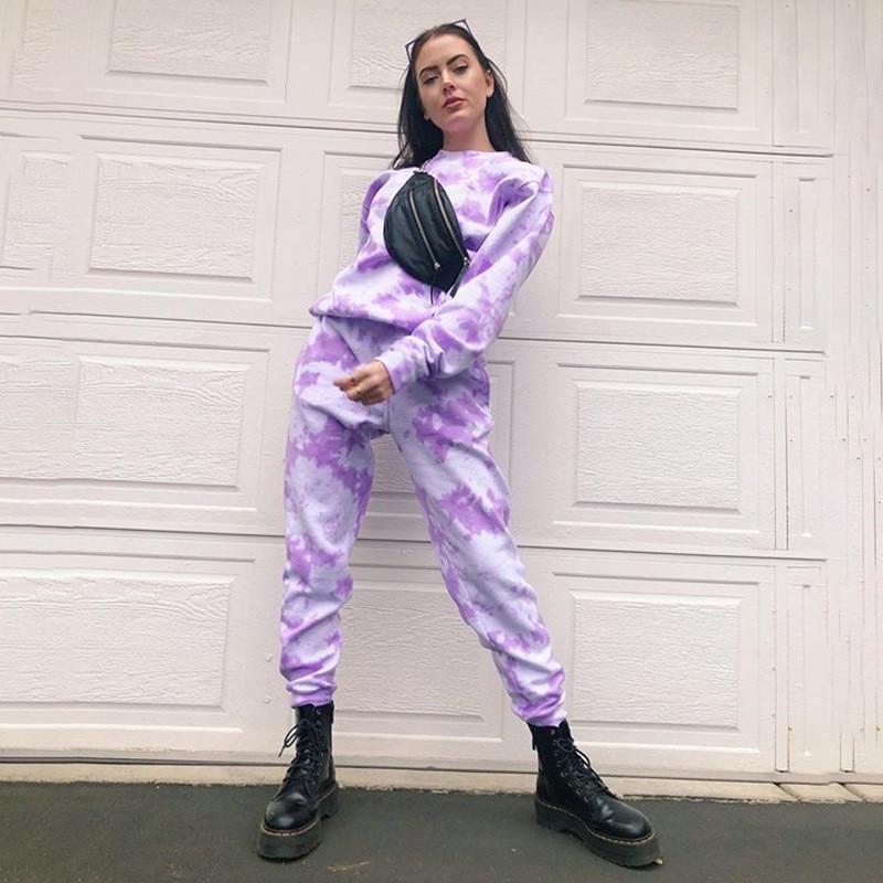 Tie Dyeing Print High Waist Trousers Women Pants Trousers 2020 New Stylish Sports Pants Streetwear Jogger Pencil Pants Bottoms