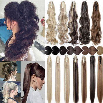 S-noilite 12-26inch claw clip on ponytail hair extension synthetic ponytail enxtension hair for women pony tail hair hairpiece 1