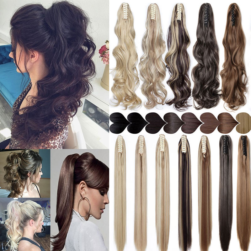 S-noilite 12-26inch Claw Clip On Ponytail Hair Extension Synthetic Ponytail Enxtension Hair For Women Pony Tail Hair Hairpiece