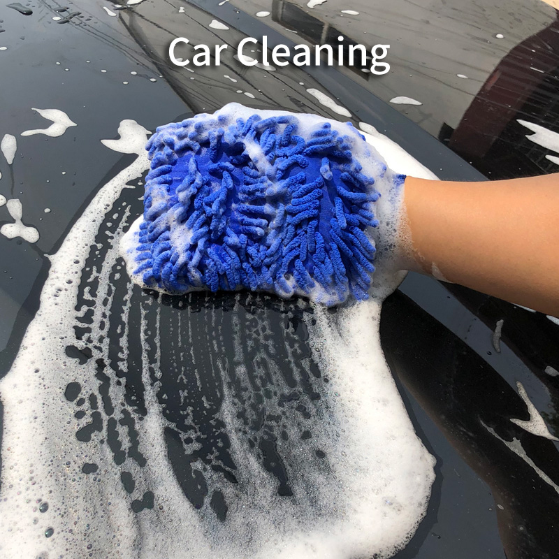 Double Sided Microfiber Washing Hand Gloves Car Window Dust Cleaning Glove Household Cleaning Towel Kitchen Accessories