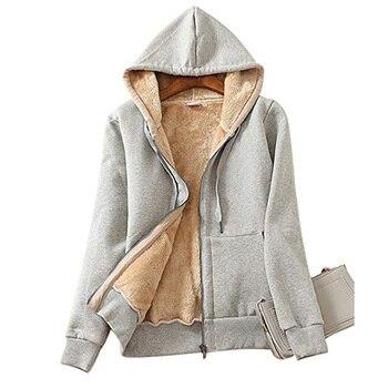 Furry Hoodies Women Plus Size Cotton Casual Solid Zip-up Winter Coat Female Clothes Outwear Streetwear Zipped Sweatshirts Hoody camouflage zip up furry hood down waistcoat