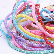6 Mm 7 Mm Hars Glitter Steentjes Touw Tube Cord Pailletten Trimmen Diy Sieraden Armband Ketting Party Bruiloft Decoraties 1yard(China)
