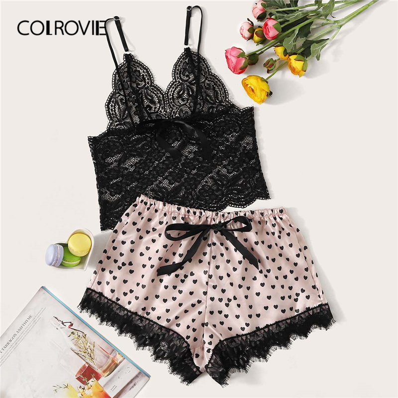 COLROVIE Floral Lace Bralette With Heart Print Shorts 2019 Summer Stretchy Sexy Pajamas Women Sleepwear Ladies Shorts Set