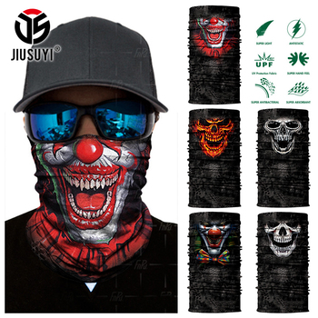 Seamless Skull Skeleton Bandana Balaclava Joker Clown Neck Gaiter Face Mask Tube Scarf Bicycle Headwear Halloween Headband Men bjmoto cool skeleton skull motorcycle ski headband sport outdoor neck face mask mtb racing cycling windproof scarf balaclava