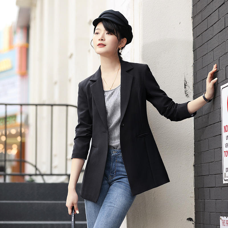 2020 Fashion Autumn Black Blazer Female Long Sleeve Office Ladies Blazer Jacket Women Outerwear Suit Coats Blazer Dress Pockets
