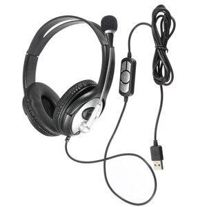Проводные стереонаушники с USB, игровые наушники с микрофоном, регулируемые наушники для ПК, ноутбука, ноутбука, музыкальный подарок для ПК