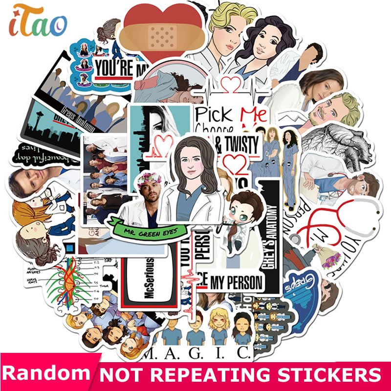 10/20/30/40/50Pcs TV Show Greys Anatomy Sticker Waterproof PVC Scrapbooking Luggage Laptop Phone Skateboard Funny Sticker Toys