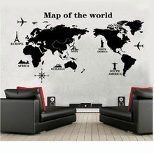 Fai da Te World Map Smontabile Del Vinile Quota di Arte Della Parete Della Decalcomania Della Decorazione Murale Accessori Mariposas Decorativas Adesivi Chambre Enfant(China)