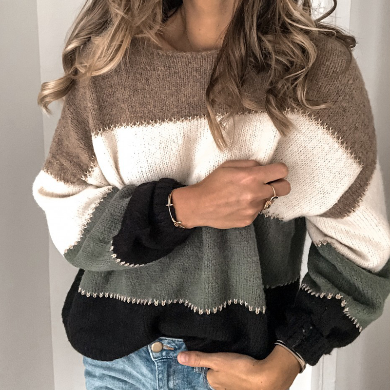 VIEUNSTA Fashion Patchwork O-neck Autumn Winter Sweater 19 Women Long Sleeve Warm Knitted Sweaters Pullover Female Tops Jumper 7