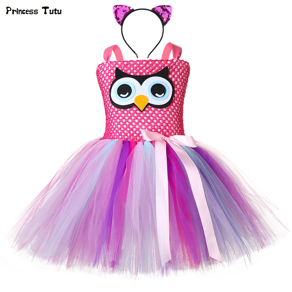 Girls Owl Tutu Dress Pastel Nighthawk Animal Theme Girl Birthday Party Dress Perform Halloween Owl Cosplay Costume for Kids 1-14 1