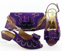Latest Puple Low heels 3.5cm Pumps Italian Shoes with Matching Bag Italian Design African Nigeria Shoes and Bag Set for Parties