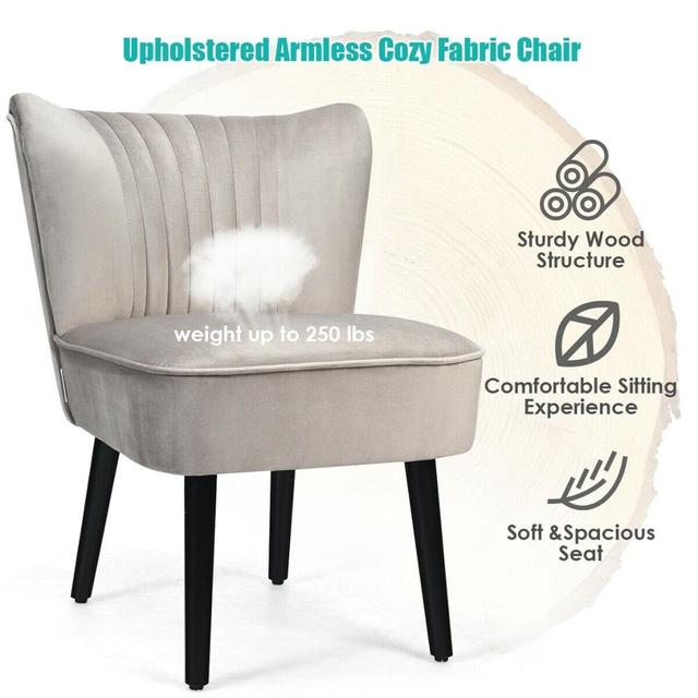 Set of 2 Armless Accent Leisure Chairs  5