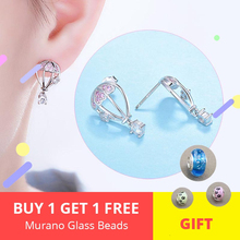 100% 925 sterling silver lovely hot air balloon stud earrings with pink CZ for women jewelry free shipping