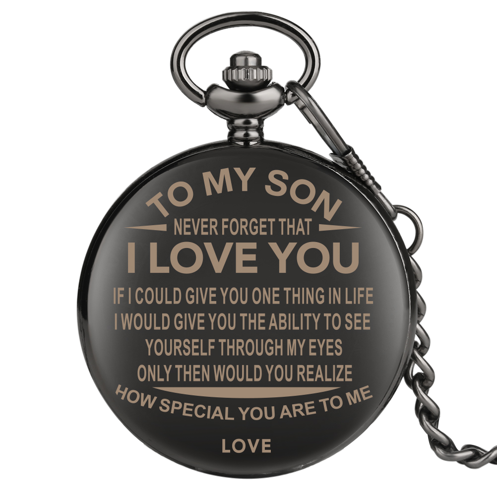 Vintage Customized Pocket Watch For Family Gifts I LOVE YOU Theme Engraving Pendant Watches Black Chain Reloj De Bolsillo