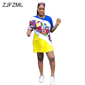 Geometric Print Sexy T Shirt Dresses 2019 Women O Neck Short Sleeve Plus Size Dress  Summer Contrast Color Patchwork Mini Dress allover geometric print dress