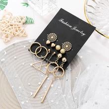 new fashion golden metal geometric circle triangle dangle earrings for women trendy flower heart shape party set
