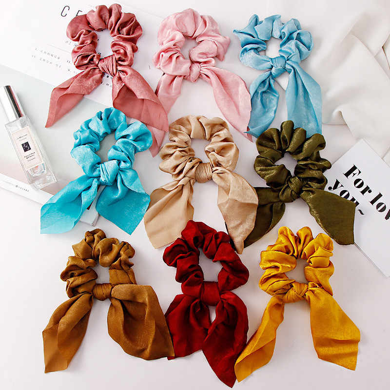 Summer Colorful Chiffon Elastic Hair Bands Knot Bow Ponytail Holder Scrunchie Rubber Bands Women Girl Hair Accessories