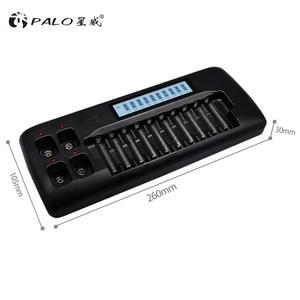Интеллектуальное зарядное устройство с ЖК-дисплеем, 14 слотов, 3,7 В, никель-металлогидридная батарея AA AAA, 9 В, перезаряжаемая батарея с разряд...