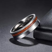 TIGRADE Titanium Man Rings 6mm 8mm Wedding Band Male Brushed and Polished Ring For Men Silver with Nature Wood Inlay Size 6-13