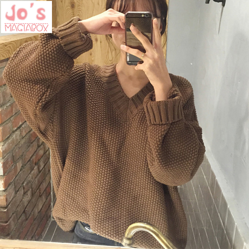 Knitted Women V-Neck Sweaters And Solid Long Sleeve Sweet Pullovers Sueter Mujer Tops Winter Casual Korean Jumper