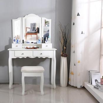 Tri-fold toaletka z lustrem nowoczesna drewniana toaletka toaletka zestaw stołowy zwięzła 4 szuflada z lustrem do makijażu komoda krzesło HWC tanie i dobre opinie CN (pochodzenie) Meble do sypialni Malowanie natryskowe Europa i Ameryka Montaż Drewniane meble do domu 90 X 40 X 145cm