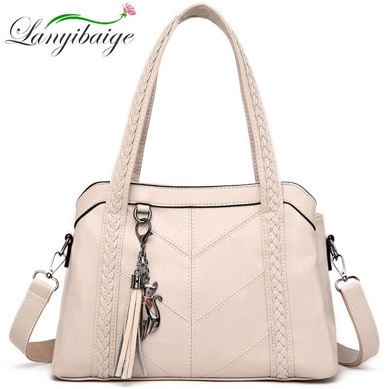 Women Luxury Handbags White Shoulder Bags Leather Crossbody Sac A Main Solid Big  Female Tote Bags Ladies Messenger Bag Bolsas