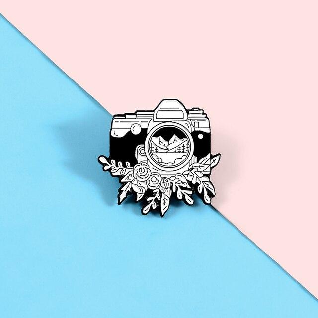 المينا بروش الحبر كاميرا دبوس ظهره الملابس شارة معدنية التلبيب دبابيس دبابيس شعبية مجوهرات هدية لمن يحبون السفر التصوير