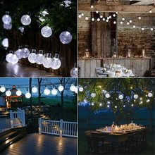 Solar String Lights LED Solar Globe Fairy Garden Lamp Crystal Balls Outdoor Waterproof Solar Powered String Lights  Decoration