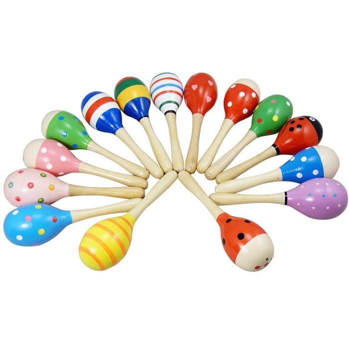 Promotion Baby Sensory Development Educational Toy Cartoon Handle Sound Wood Color Cartoon Sand Hammer Large Size