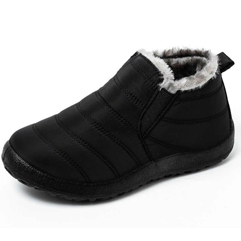 Botas de hombre botas impermeables al tobillo botas de nieve de talla grande botas de invierno para hombres zapatos de trabajo mantener caliente calzado de piel para hombres zapatos de moda al aire libre
