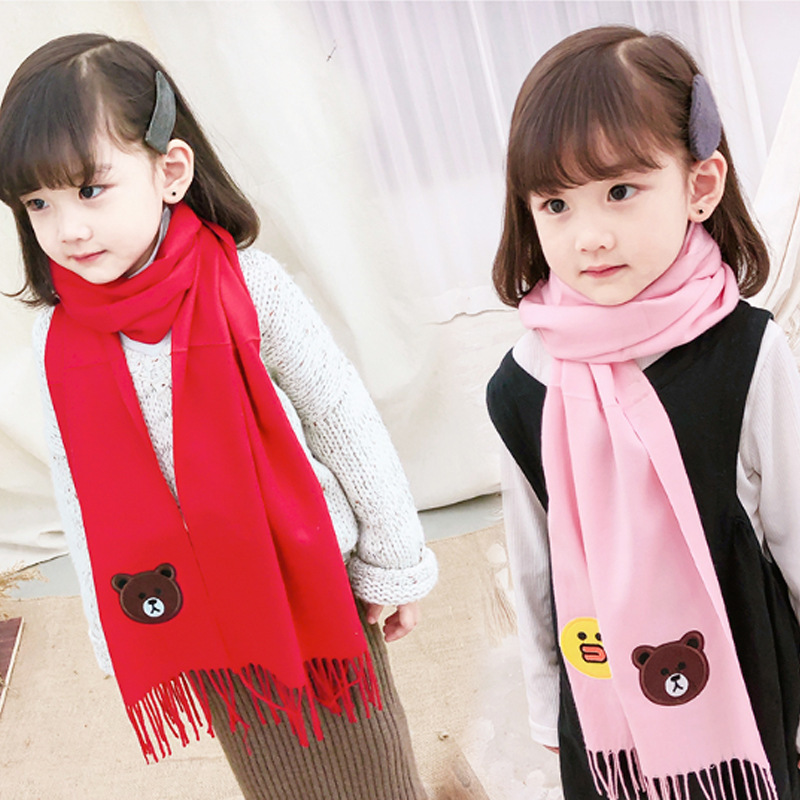 2019 Autumn & Winter New Style Children Cute Cartoon Faux Cashmere Scarf Girls Skin Korean-style