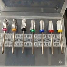 7 pces com caixa de segurança 5in1afilado carboneto de segurança prego broca bits com corte brocas carboneto fresa para manicure remover gel