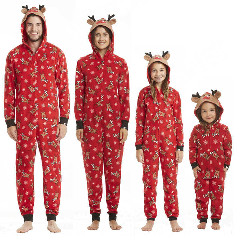 Red Christmas Family Pajamas Hooded Pyjamas Jumper Onesies For Family Look Set Mother Daughter Father Son Baby New Year Matching
