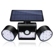 Zewnętrzna lampa ścienna panel słoneczny światło na czujnik ruchu kinkiety 30 LED IP65 wodoodporne podwójne światło głowy Patio garaż szybka wysyłka