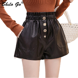 Genuine Leather Shorts Highstreet Elastic Waist Beading Button Front Sheepskin Wide Leg Shorts Women Autumn Winter Casual Shorts