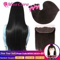 Перуанские прямые пряди волос с фронтальной Miss Cara 100% Remy человеческие волосы 3/4 пряди с закрытием 13*4 фронтальные пряди