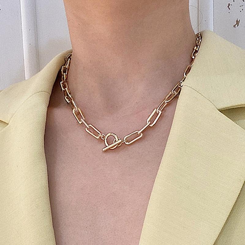 Горячая Распродажа, модное круглое ожерелье с цепочкой золотого и серебряного цвета, колье, Женские Ювелирные изделия