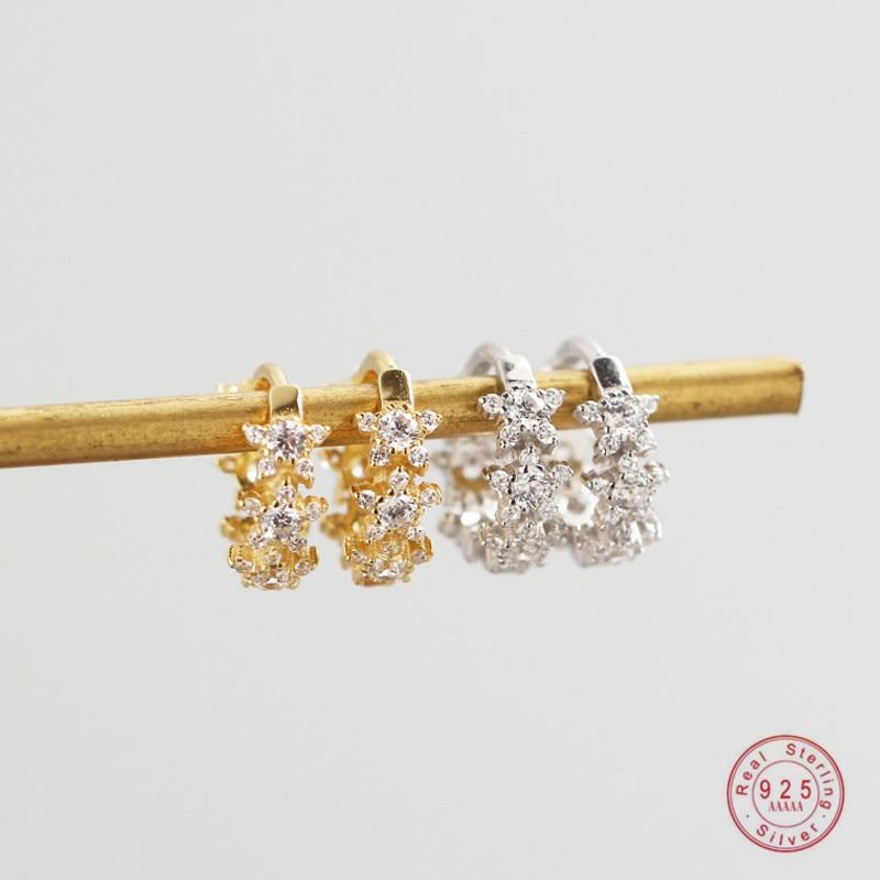 100% 925 Sterling Silver Pavé Crystal Geometric Star Stud Earrings Women Light Mature Style Luxury Wedding Jewelry Accessories